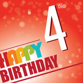 4th Birthday party invite,template design in bright and colourful retro style - Vector — Stock Vector