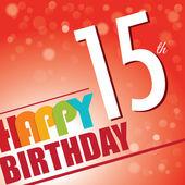 15th Birthday party invite,template design in bright and colourful retro style - Vector — Stock Vector