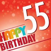 55th Birthday party invite,template design in bright and colourful retro style - Vector — Stock Vector