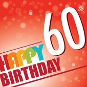 60 doğum günü partisine davet, şablon tasarım retro tarzı - parlak ve renkli vektör — Stok Vektör