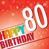 80th Birthday party invite,template design in bright and colourful retro style - Vector — Stock Vector