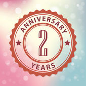 """""""2 Years Anniversary"""" - Retro style seal, with colorful bokeh background EPS 10 vector — Stock Vector"""