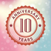 """""""10 Years Anniversary"""" - Retro style seal, with colorful bokeh background EPS 10 vector — Stock Vector"""