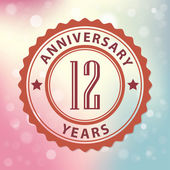 """12 Years Anniversary"" - Retro style seal, with colorful bokeh background EPS 10 vector — Stock Vector"