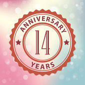"""14 Years Anniversary"" - Retro style seal, with colorful bokeh background EPS 10 vector — Cтоковый вектор"