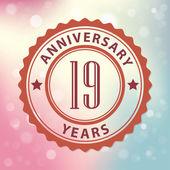 """""""19 let výročí"""" - pečeť retro stylu, s barevnými bokeh pozadí eps 10 vektorových — Stock vektor"""