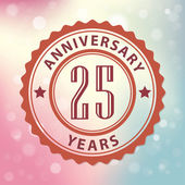 """""""25 Years Anniversary"""" - Retro style seal, with colorful bokeh background EPS 10 vector — Stock Vector"""