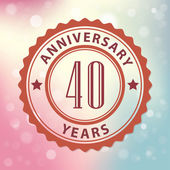 """""""40 Years Anniversary"""" - Retro style seal, with colorful bokeh background EPS 10 vector — Stock Vector"""