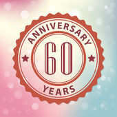 """""""60 Years Anniversary"""" - Retro style seal, with colorful bokeh background EPS 10 vector — Stock Vector"""