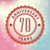 """""""70 Years Anniversary"""" - Retro style seal, with colorful bokeh background EPS 10 vector — Stock Vector"""