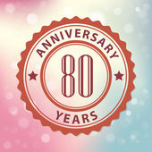 """80 Years Anniversary"" - Retro style seal, with colorful bokeh background EPS 10 vector — Vector de stock"