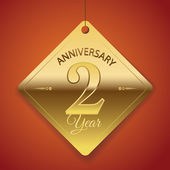 2 Years Anniversary poster , template, tag design Vector — Stock Vector