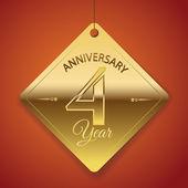 4 Years Anniversary poster , template, tag design Vector — Vector de stock