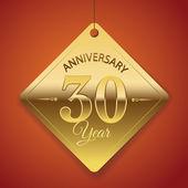 Cartel de aniversario de 30 años, template, vector diseño de etiqueta — Vector de stock