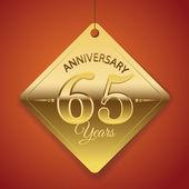 Cartel de aniversario de 65 años, template, vector diseño de etiqueta — Vector de stock