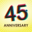 45 Years Anniversary poster , template, tag design Vector — Stock Vector