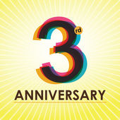 3 Years Anniversary poster , template, tag design Vector — Stock Vector