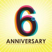 Cartel de aniversario de 6 años, template, vector diseño de etiqueta — Vector de stock