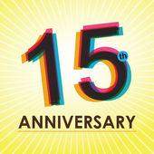 15 años aniversario cartel, plantilla, vector diseño de etiqueta — Vector de stock