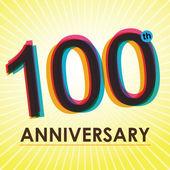 Cartel del aniversario de 100 años, template, vector diseño de etiqueta — Vector de stock