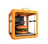 3D printer printing food like hamburger — Stock Photo