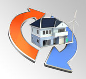 Energy efficient house with renewable power circle — Stock Photo