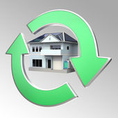 Energy efficient house with eco cycle — Stock Photo