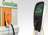 Gas station and electric vehicle quick charger station — Stock Photo