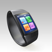 Black smart watch isolated on gray background — Stock Photo