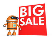 Robot stand by a big sale promotion wall — Stock Photo