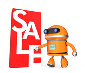 Robot running to sale promotion market — Stock Photo