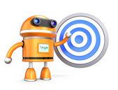 Robot guy demonstrating marketing plan with target symbol — Stock Photo
