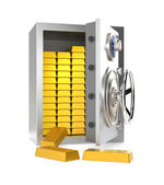 An opened home safe with gold bars inside — Stock Photo
