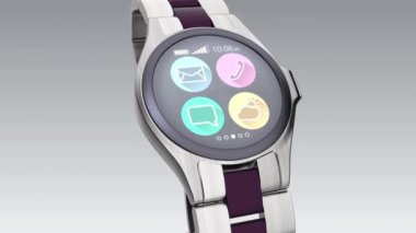 Luxury smart watch on bright background — Stockvideo