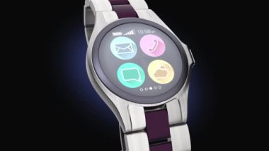Luxury smart watch on dark background — Wideo stockowe