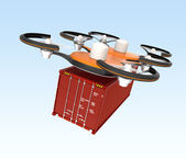 Air drone carrying cargo container — Stock Photo