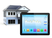Tablet PC with home automation app — Stock Photo