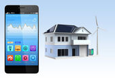 Smartphone with home automation app — Stock Photo