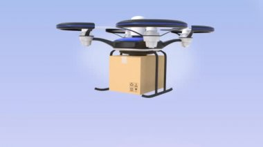 Drone carrying cardboard box in the sky — Stock Video