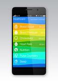 Gezondheid en fitness informatie app voor slimme telefoon — Stockfoto