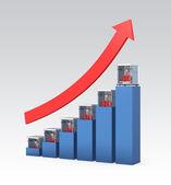 3D printer market progress chart isolated on gray background — Stockfoto