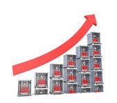 3D printer market progress chart isolated on white background — ストック写真