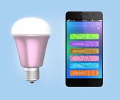 Smartphone app control LED lighting — Foto Stock