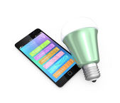 Smartphone app control LED lighting — Stock Photo