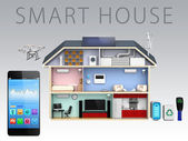 Smartphone app for energy efficient smart house — Stock Photo