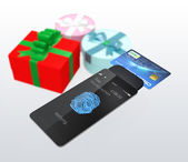 Credit card and smartphone with fingerprint scan app — Stock Photo