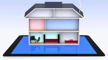 智能房子与节能电器、 太阳能电池板。通过 tablet pc 控制 — 图库视频影像