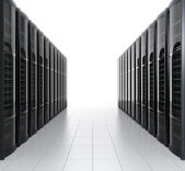 Rows of blade server isolated on white background — Stock Photo