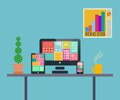 Home office flat design — Stock Vector