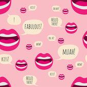 Naadloze lippen patroon — Stockvector